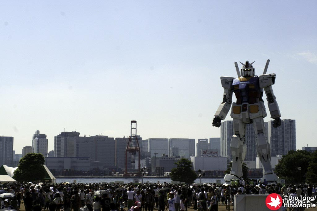Famous shot of the Gundam in the square.