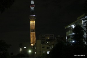 Tokyo Sky Tree lit up for the Olympic Bid (Gold Colour)