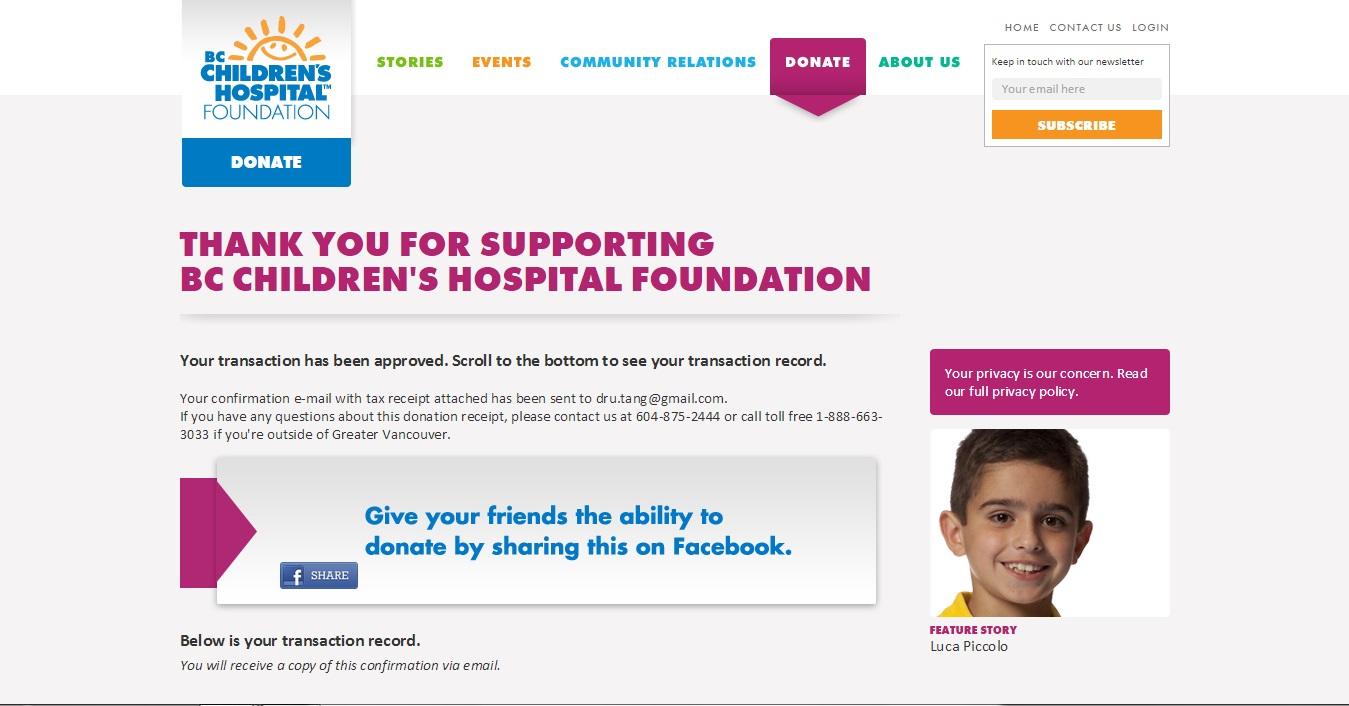 BC Children's Donation